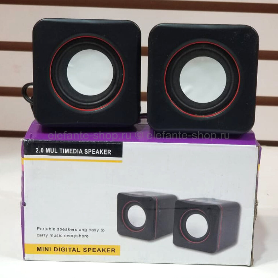 Компьютерные колонки Mini Digital Speaker 2.0 Multimedia Red Ring (15)