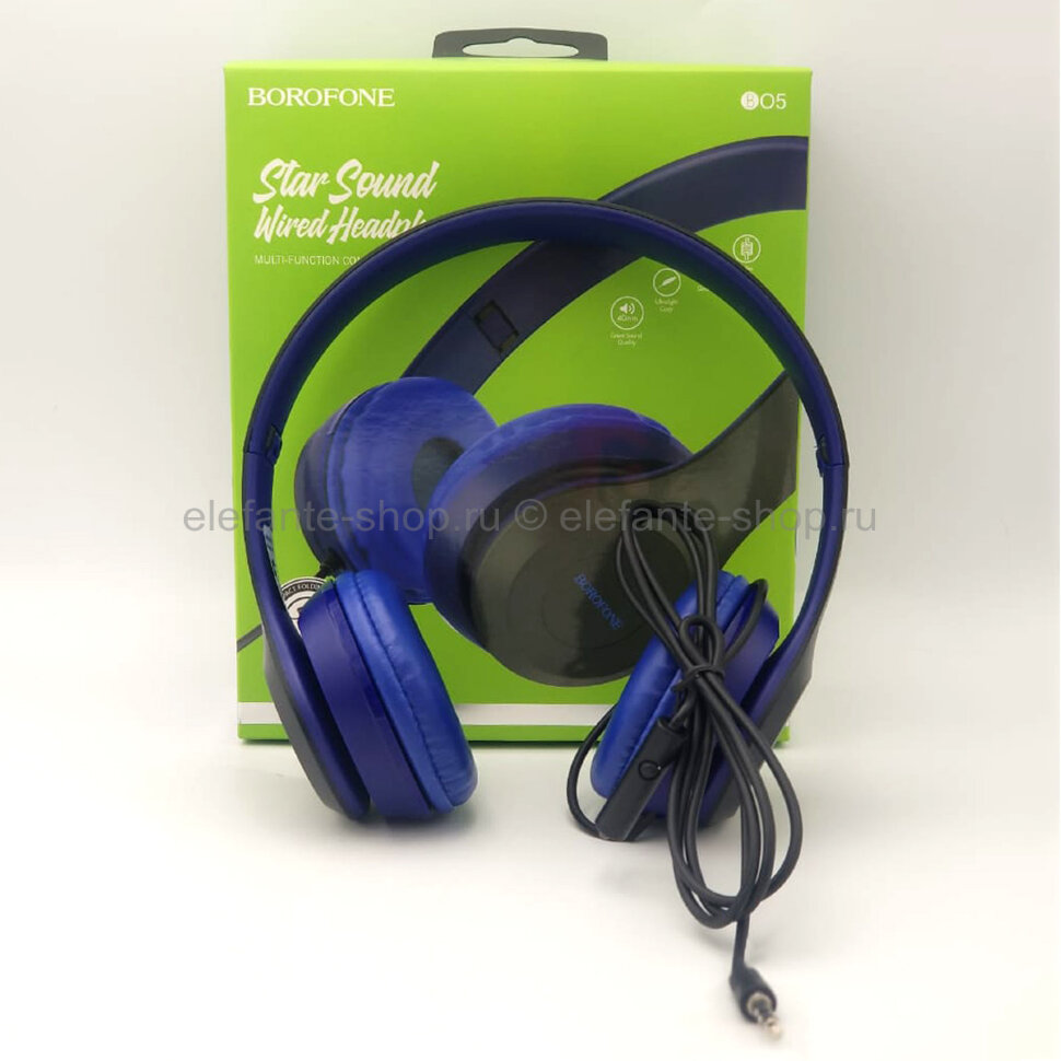 Проводные наушники Borofone Star Sound Wired Headphone B05 Blue (15)